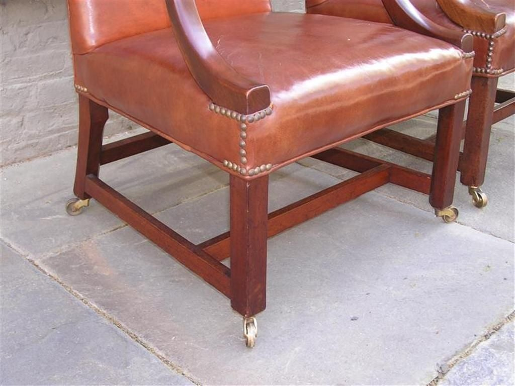 Pair of English Leather Arm Chairs For Sale 1