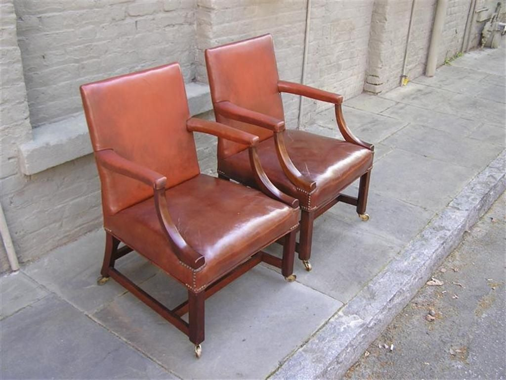 Pair of English Leather Arm Chairs For Sale 2