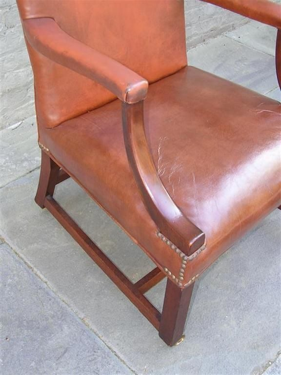 Pair of English Leather Arm Chairs For Sale 3