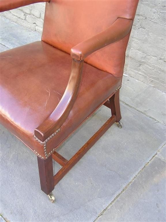 Pair of English Leather Arm Chairs For Sale 4