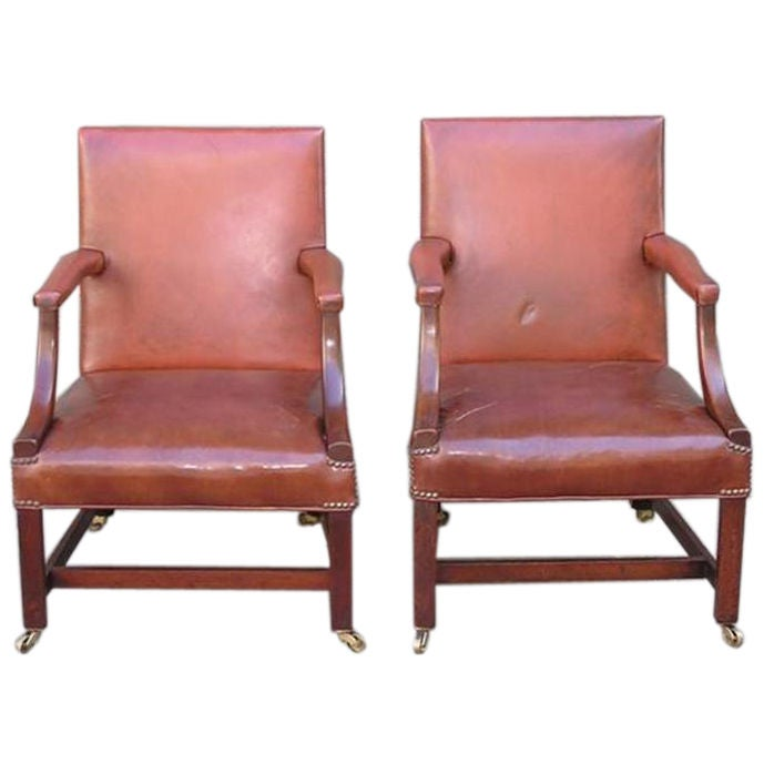 Pair of English Leather Arm Chairs