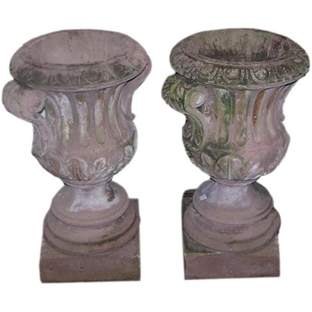 Pair of Italian Hand Carved Sandstone Campaign Urns.  Circa 1780
