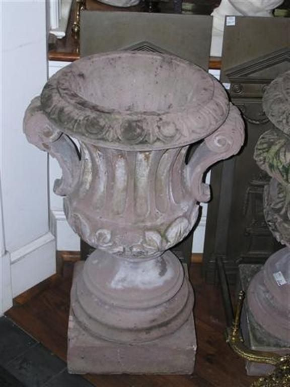 Pair of Italian Hand Carved Sandstone Campaign Urns.  Circa 1780 For Sale 1