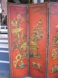 English Four Panel Leather Screen image 2