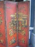 English Four Panel Leather Screen image 3