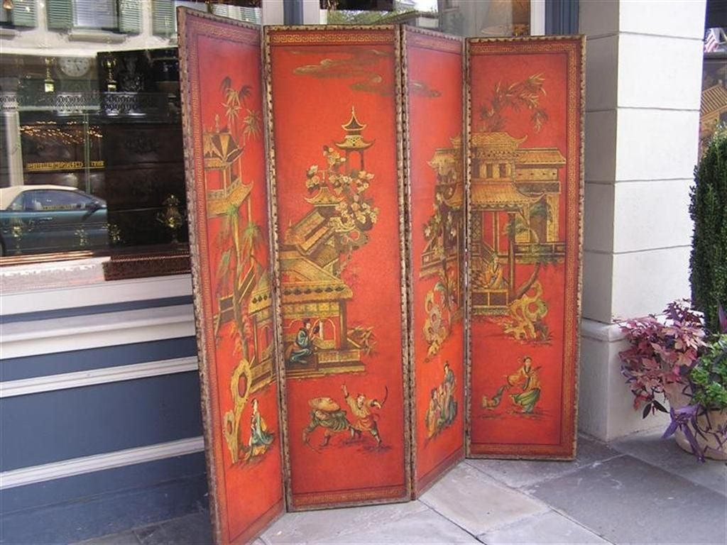 English Four Panel Leather Screen 4