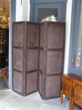 English Four Panel Leather Screen image 5