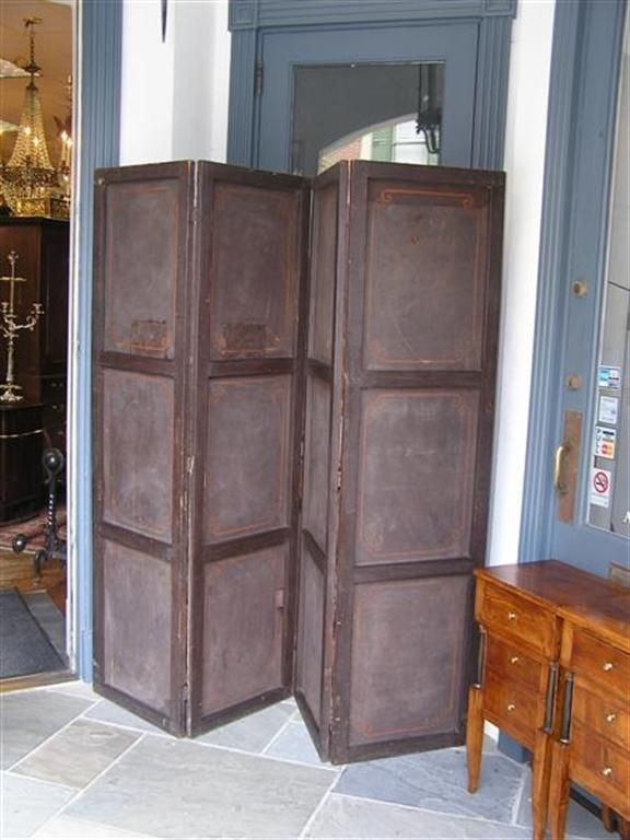 English Four Panel Leather Screen 5