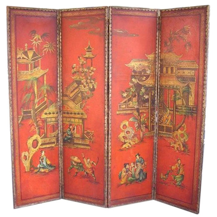 English Four Panel Leather Screen
