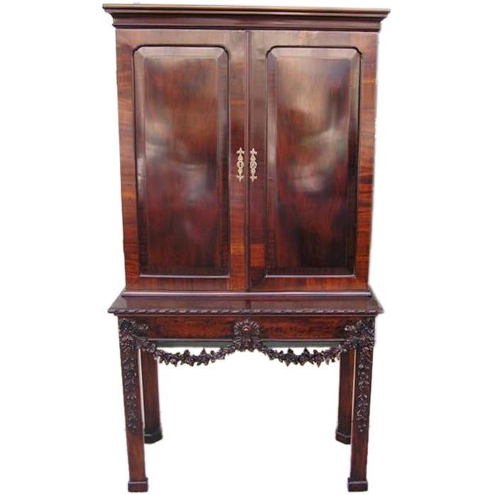 English Chippendale Mahogany Carved Floral Desk With Bookcase.  Circa 1770 For Sale