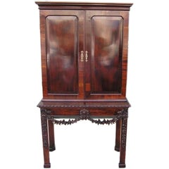 English Chippendale Mahogany Carved Floral Desk With Bookcase.  Circa 1770