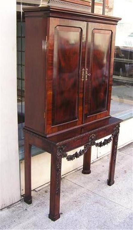 Hand-Carved English Chippendale Mahogany Carved Floral Desk With Bookcase.  Circa 1770 For Sale