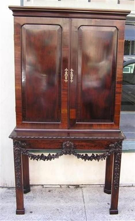 English Chippendale Mahogany Carved Floral Desk With Bookcase.  Circa 1770 In Excellent Condition For Sale In Charleston, SC