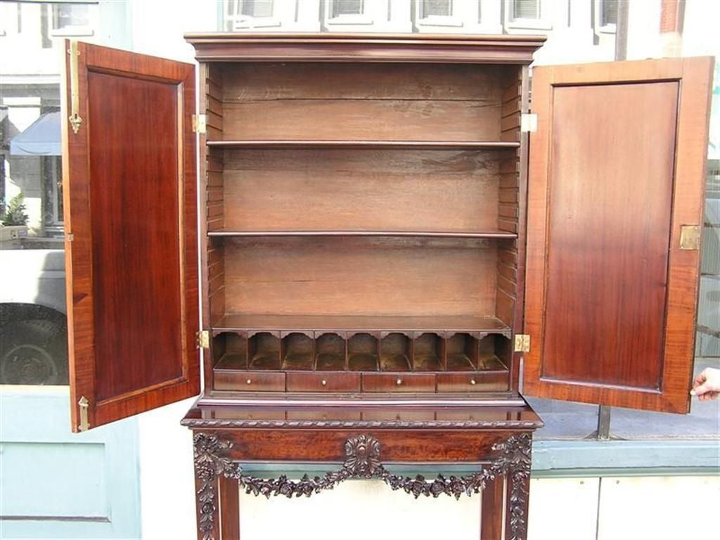 Late 18th Century English Chippendale Mahogany Carved Floral Desk With Bookcase.  Circa 1770 For Sale