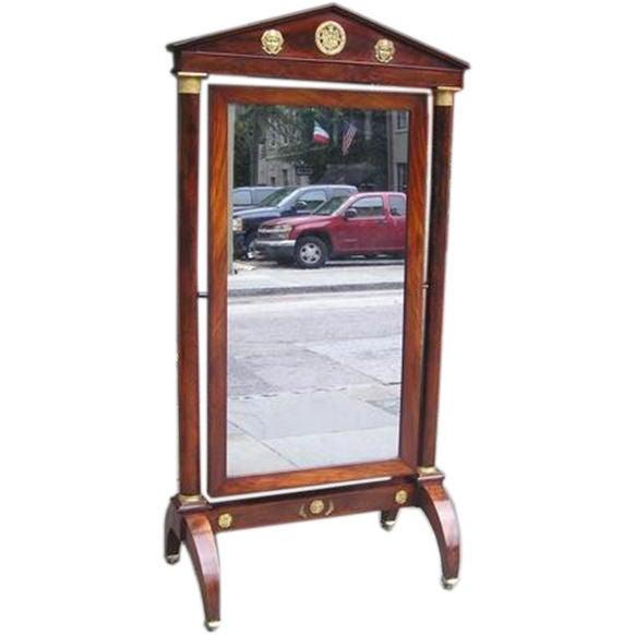 French Mahogany Paladin Ormolu Cheval Mirror.  Circa 1790