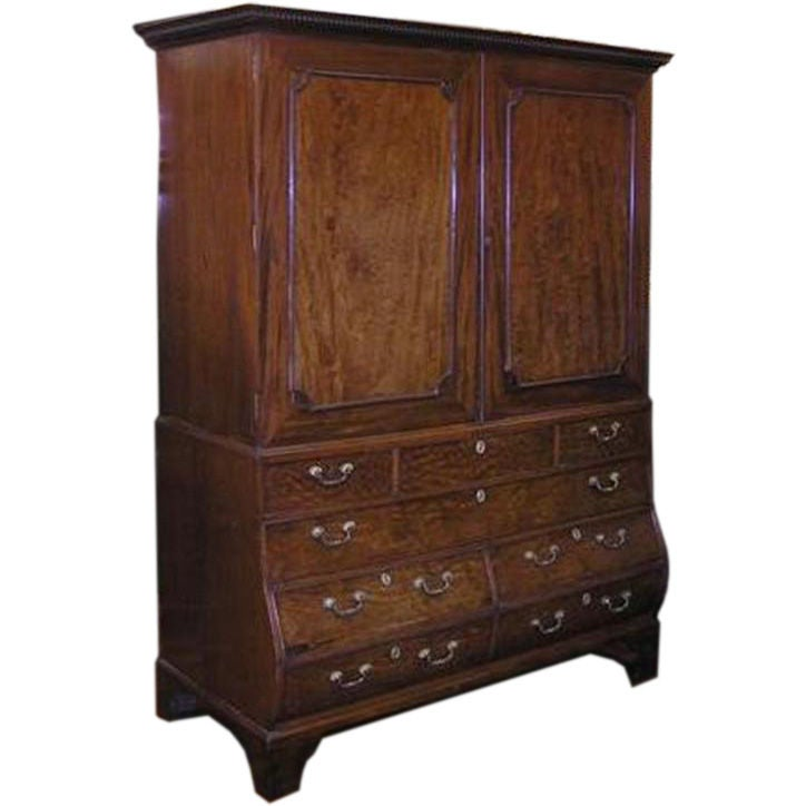 English chippendale mahogany bombay linen press circa for Linen press