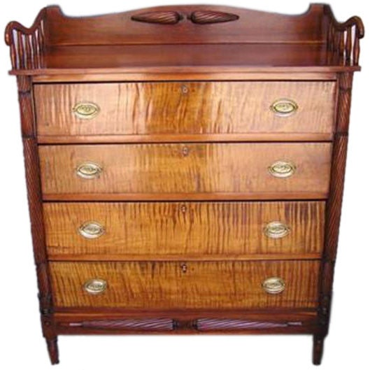 American Tiger Maple And Cherry Chest Of Drawers 1