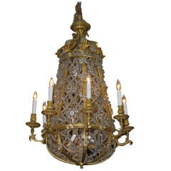 French Gilt Bronze and Crystal Baccarat Chandelier. Circa 1790