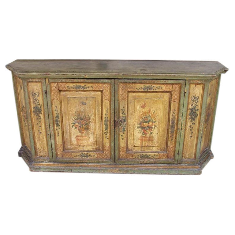 French Faux Painted Foliage Console. Circa 1790