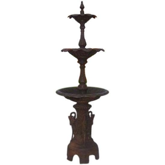 American Cast Iron Three Tiered Decorative Fountain, Fiske , NY .  Circa 1860 For Sale