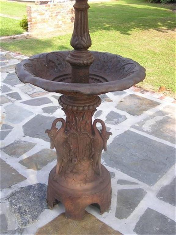 American Empire American Cast Iron Three Tiered Decorative Fountain, Fiske , NY .  Circa 1860 For Sale