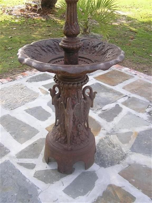 American Cast Iron Three Tiered Decorative Fountain, Fiske , NY .  Circa 1860 For Sale 1