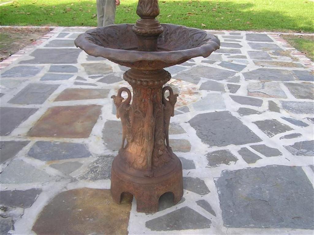 American Cast Iron Three Tiered Decorative Fountain, Fiske , NY .  Circa 1860 For Sale 4