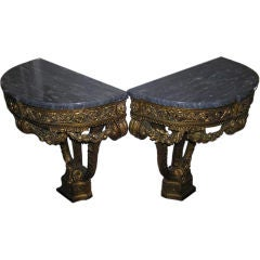 Pair of French Floral Gilt & Marble Top Demi-Lune Consoles , Circa 1790