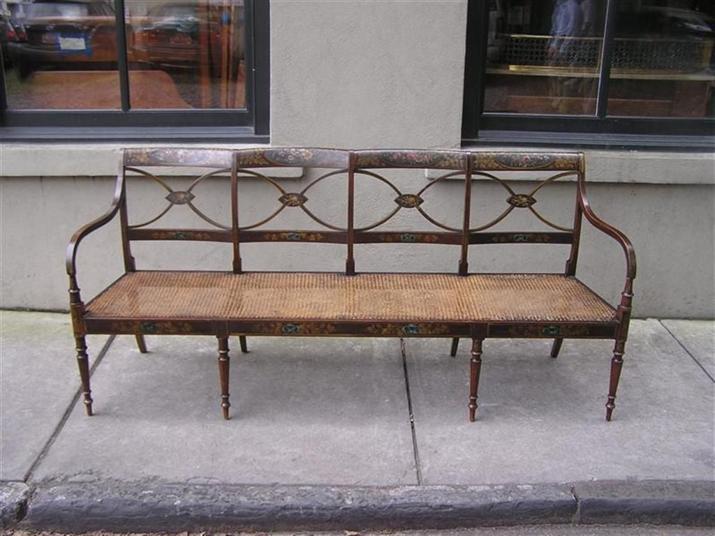 English Sheraton Bench In Excellent Condition For Sale In Charleston, SC
