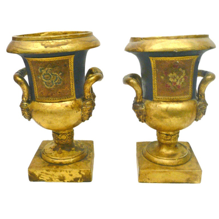 Rare pair of papier mache urns in the old paris style 19th for Paper mache objects