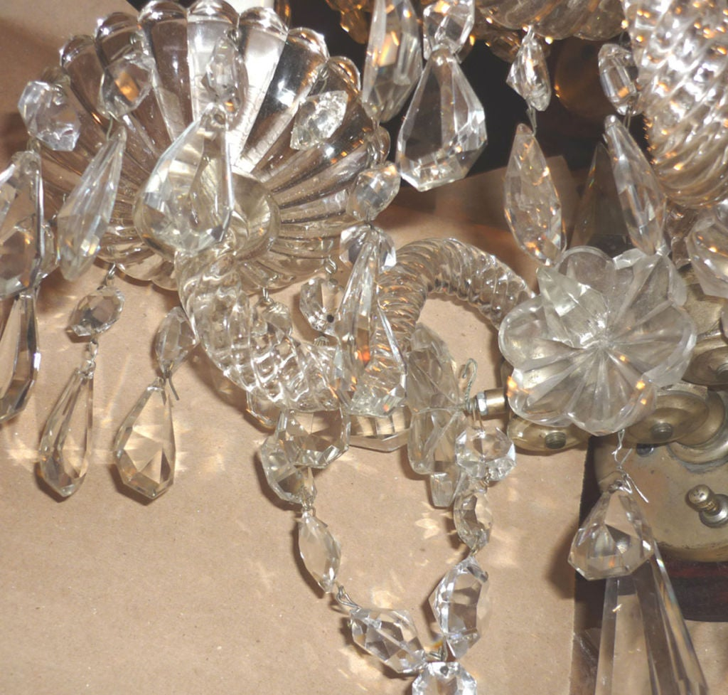Pair English Waterford Style Crystal Wall Sconces at 1stdibs