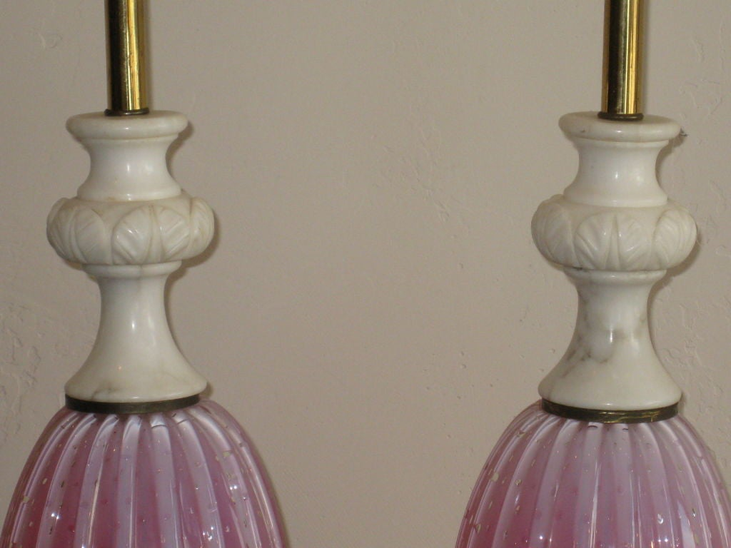 Carved Stone Glass : Pink murano glass and carved marble lamps by barovier