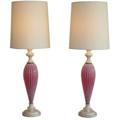 Pink Murano Glass and Carved Marble Lamps by Barovier & Toso
