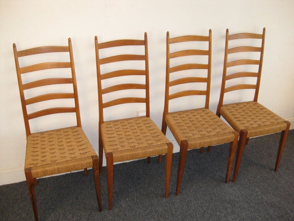 Set Of Four Italian Ladder Back Woven Seat Dining Chairs 3