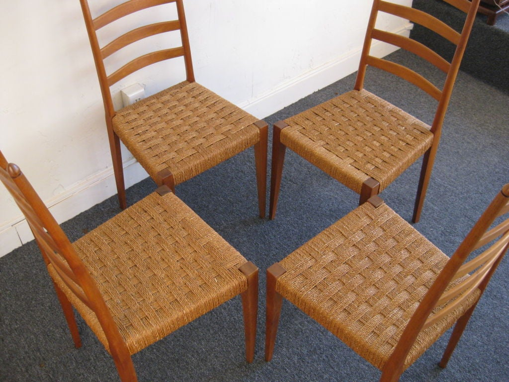 Set of four italian ladder back woven seat dining chairs at 1stdibs - Ladder back dining room chairs ...