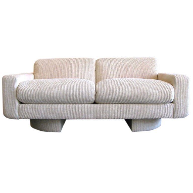Custom 1980s Down Filled Loveseat Sofa By Directional