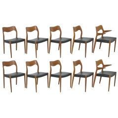 Set of Ten Danish Teak Dining Chairs by Niels Moller