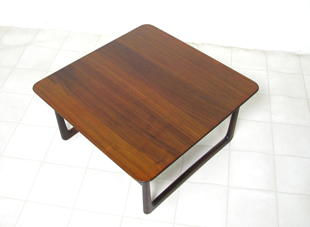 Low square danish teak coffee table by peter hvidt at 1stdibs Low coffee table square