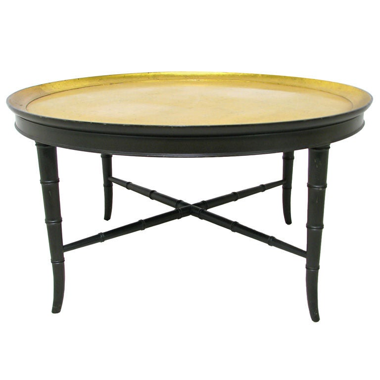 Kittinger Gold Leaf Coffee Cocktail Table W Faux Bamboo Base At 1stdibs
