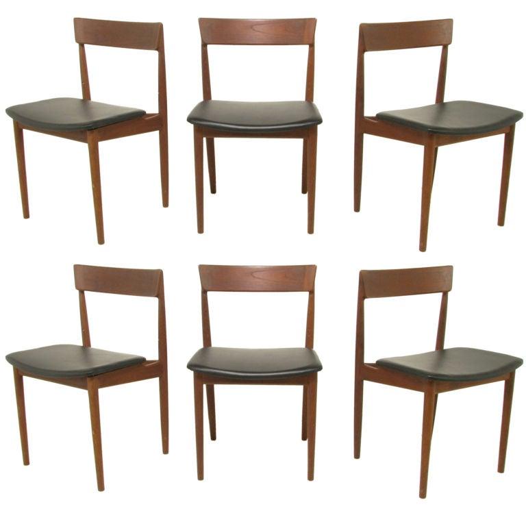 Set of six danish teak dining chairs by rosengren hansen for Dscan dining room set
