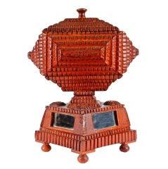 Fine Sculptural Tramp Art Pedestal Box with Inset Mirrors