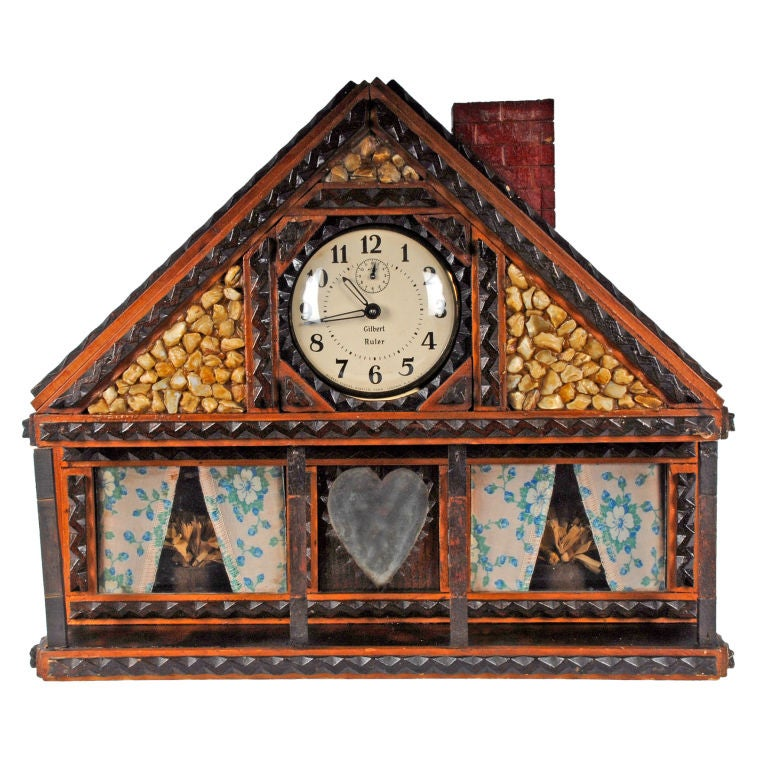 Whimsical Tramp Art House Shaped Clock Case With Shells