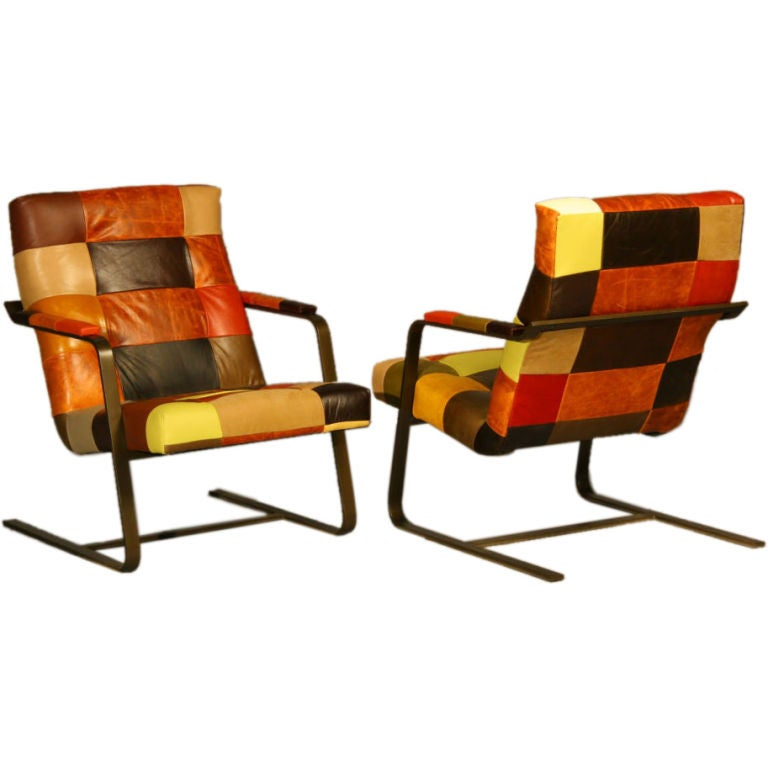 Leather Patchwork Pair Of Lounge Chairs With Bronze Finish