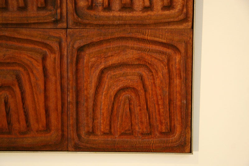 American Forms and Surfaces Wall Panel of Carved Redwood Tiles