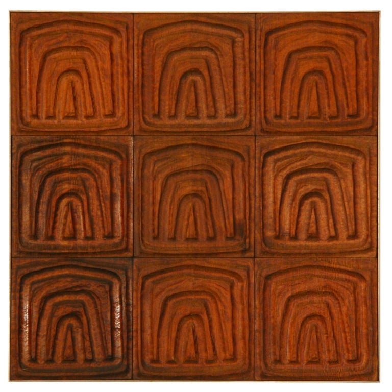 Forms and Surfaces Wall Panel of Carved Redwood Tiles 1