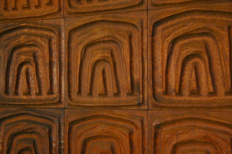 Forms and Surfaces Wall Panel of Carved Redwood Tiles 4