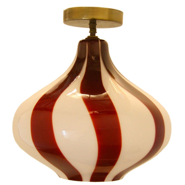 Venini onion lamp with red and white stripes For Sale