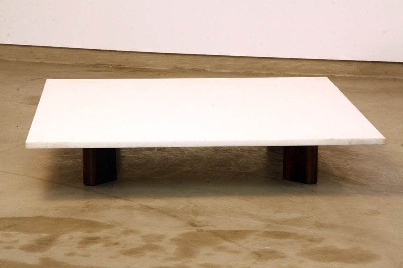 Solid Jacaranda Coffee Table With White Granite Top For Habitat Brasil At 1stdibs