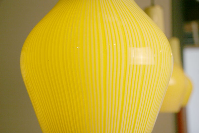 Set Of 3 Striped Venini Yellow Hanging Pendant Lights At