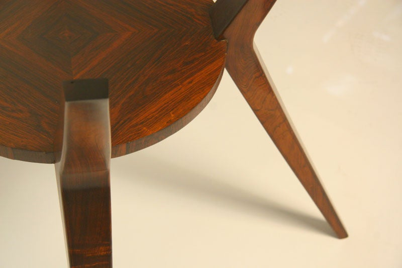 Sculptural Brazilian Rosewood Dining Table With Glass Top